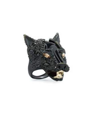 Alexis Bittar Crystal-Encrusted Panther Statement Ring, Black $295 thestylecure.com