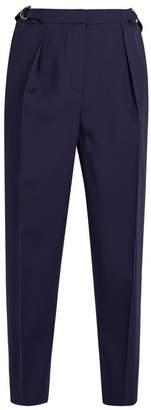 Roksanda Surikov Wool Blend Cropped Trousers - Womens - Navy