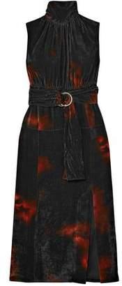 Altuzarra Indira Belted Tie-dyed Velvet Midi Dress