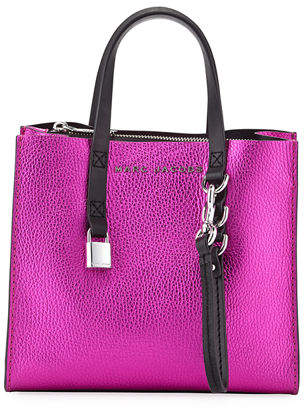 Marc Jacobs Grind Mini Metallic Leather Shopper Tote Bag