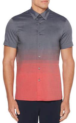 Perry Ellis Short Sleeve Ombre Horizontal Stripe Cotton Sport shirt
