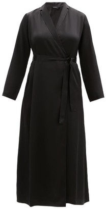 La Perla Silk Satin Robe - Womens - Black