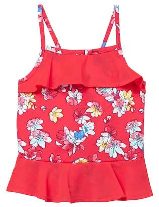 Nautica Floral Print & Chiffon Popover Tank Top (Toddler Girls)