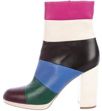 Valentino Bo-y-ch Striped Booties