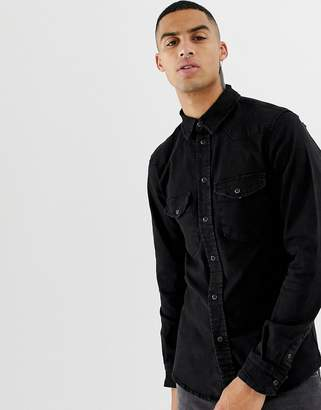 Bershka western shirt in black with popper buttons