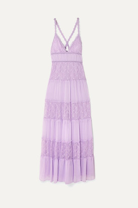 Alice + Olivia Alice Olivia - Amena Tiered Lace And Crepon Maxi Dress - Lilac