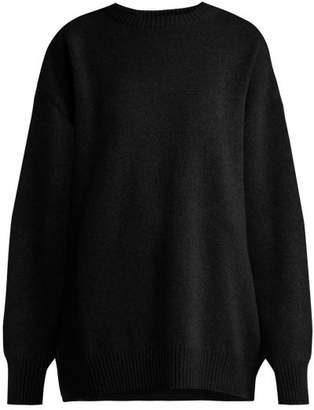 Raey Displaced Sleeve Round Neck Wool Sweater - Womens - Black