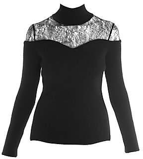 Fendi Women's Lace Inset Turtleneck Sweater