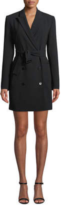 Theory Double-Breasted Belted Admiral Crepe Blazer Dress