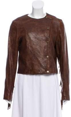 Veronica Beard Leather Fringe Jacket