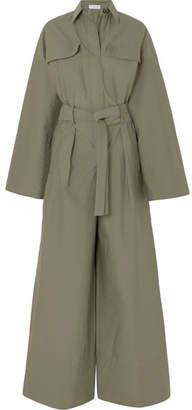 Brunello Cucinelli Belted Bead-embellished Crinkled Cotton-blend Jumpsuit - Green
