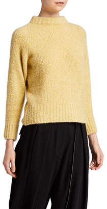 The Row Cera Fuzzy Cashmere-Silk Mock-Neck Crop Sweater