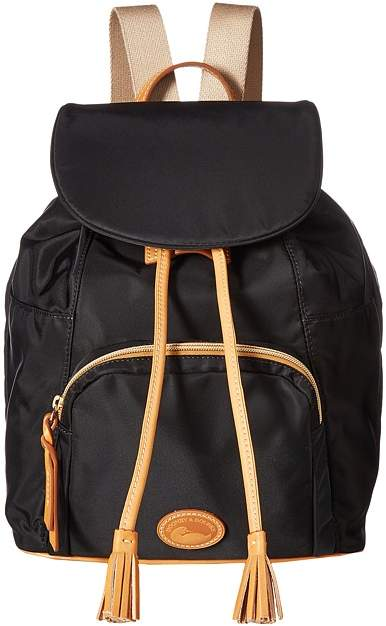 Dooney & Bourke Miramar Large Murphy Backpack Backpack Bags - BLACK/BTRSCTCH TRIM - STYLE