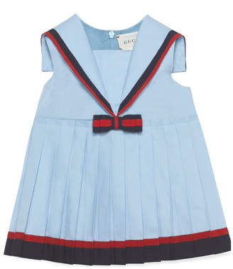 Gucci Sailor Collar Dress w/ Web Trim, Size 9-36 Months