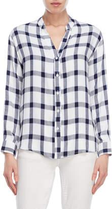 Kensie Plaid Band Collar Shirt
