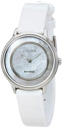 Citizen 30mm Eco-Drive Leather Watch, Mother-of-Pearl
