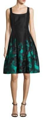 Carmen Marc Valvo Sleeveless Printed A-Line Dress