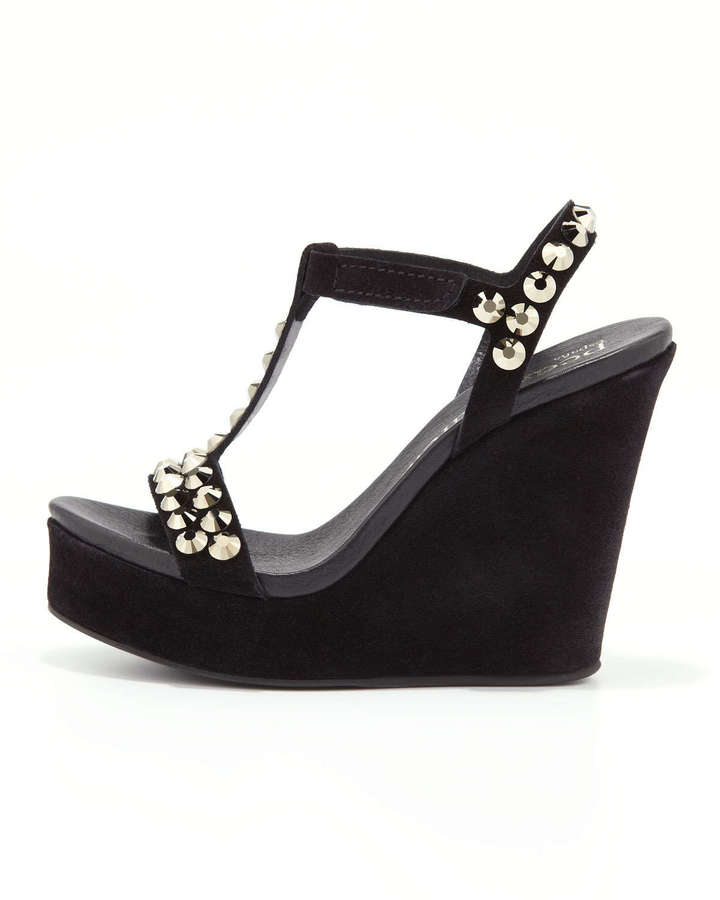 Pedro Garcia Tyra Crystal-Stud Wedge Sandal, Black