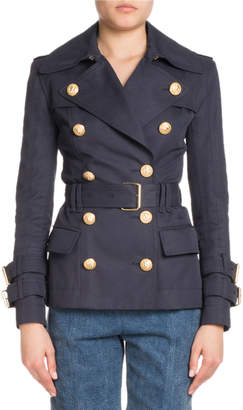 Balmain Short Double-Breasted Trench Jacket
