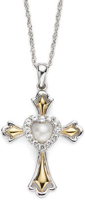 JCPenney FINE JEWELRY Cultured Freshwater Pearl & Lab-Created White Sapphire Cross Pendant Necklace