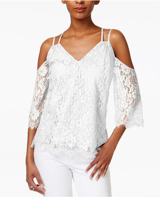 Bar Iii Strappy Lace Cold-Shoulder Top, Only at Macy's $59.50 thestylecure.com