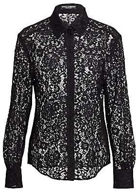 Dolce & Gabbana Dolce& Gabbana Dolce& Gabbana Women's Lace Button-Front Blouse