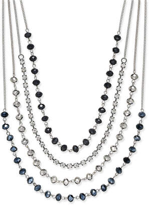INC International Concepts I.n.c. Silver-Tone Multi-Row Jet Stone and Crystal Statement Necklace, Created for Macy's
