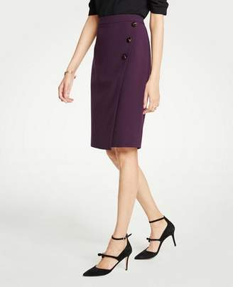 Ann Taylor Petite Doubleweave Side Button Wrap Pencil Skirt