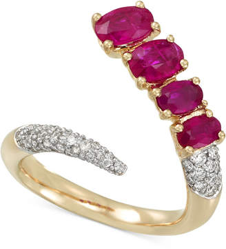 Rare Featuring Gemfields Certified Ruby (1-5/8 ct. t.w.) and Diamond (3/8 ct. t.w.) Pave Bypass Ring in 14k Gold, Created for Macy's