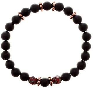 Jean Claude Fire of Love Copper Accented Tanzanian Onyx & Bohemian Crystal Beaded Elastic Bracelet