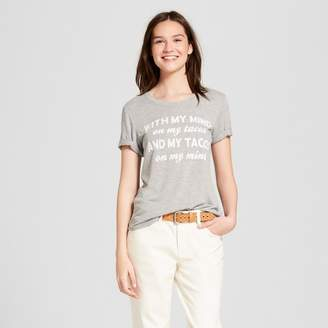 Zoe+Liv Women's With My Mind On My Tacos Short Sleeve Graphic T-Shirt - Zoe+Liv (Juniors') Heather Gray