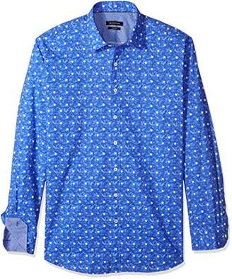 Bugatchi Men's Fitted Long Sleeve Printed Cotton Polka Dots Design Shirt
