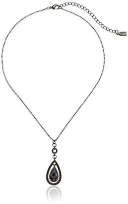 1928 Jewelry Black-Tone Suspended Teardrop Pendant Necklace
