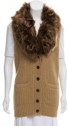 Ralph Lauren Shearling-Trimmed Wool Vest