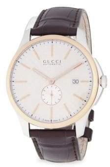 Gucci 18K Rose Gold Analog Leather Strap Watch