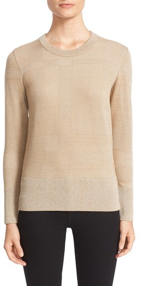 Burberry 'Worthbeck' Metallic Check Knit Sweater