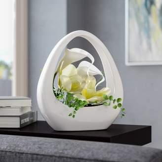 Orren Ellis Orchid and Calla Lily Floral Arrangement in Decorative Vase