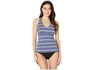 e7402145672837 24th   Ocean Luxe Gold Stripe Over the Shoulder Back Strapping Tankini Top