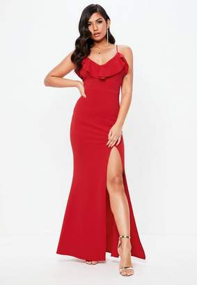 Missguided Tall Red Frill Detail Plunge Neck Maxi Dress