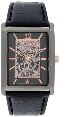 GENEVA Geneva Mens Rectangular Black Leather Strap Skeleton-Look Watch