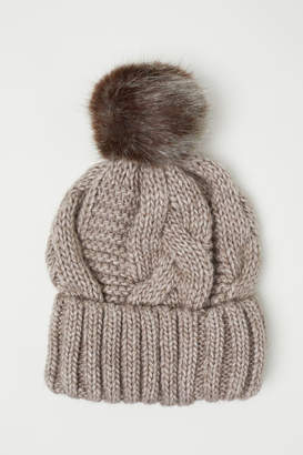 H&M Cable-knit Hat - Brown