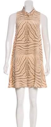 Equipment Animal Print Silk Button-Up Dress