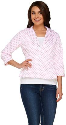 Joan Rivers Classics Collection Joan Rivers Polka Dot Signature Jacket with 3/4 Sleeves