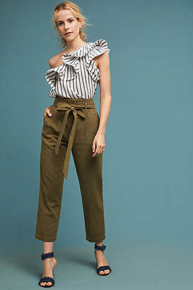 AG Jeans Paperbag-Waisted Wide-Legs Pants