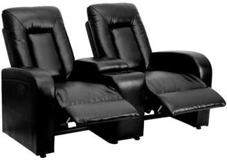 Flash Furniture Eclipse Series 2-Seat Power Reclining Leather Theater Seating Unit with Cup Holders, Multiple Colors