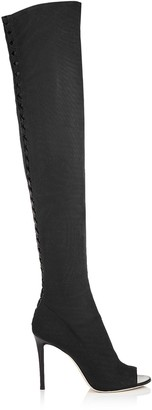 Jimmy Choo DESAI 100 Black Fabric Mesh and Nappa Leather Over The Knee Boots