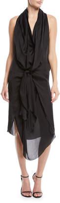 Urban Zen Sleeveless Tie-Front Silk Charmeuse Scarf Dress