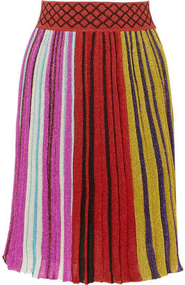 Missoni Pleated Metallic Stretch-knit Skirt - Red