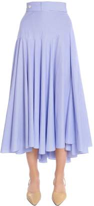 Loewe High Waisted Striped Cotton Midi Skirt