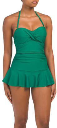 Ruched Swim Dress With Flouncy Skirt
